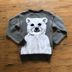 KERSH Ladies Intarsia Bear Button Front Cardigan L